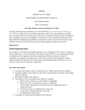 NOTICE OF WAGE THEFT PREVENTION AMENDMENT ACT OF  2014-1