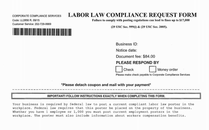 Corporate Compliance Services Mailer
