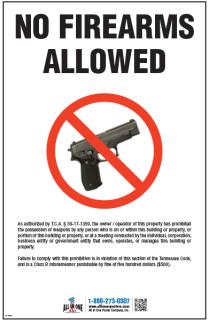 TN No Firearms Allowed 11x17